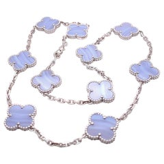 Van Cleef & Arpels Vintage Alhambra 10 Motif Chalcedony Necklace 18kt White Gold