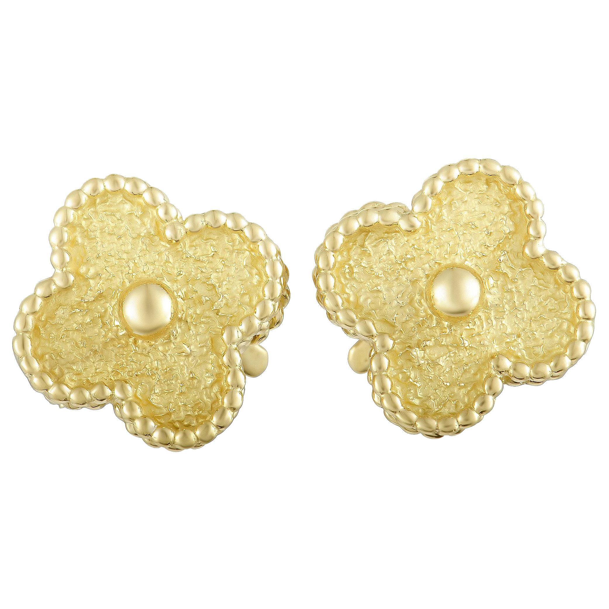 Van Cleef & Arpels Vintage Alhambra 18 Karat Yellow Gold Clip-On Earrings