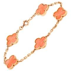 Van Cleef & Arpels Vintage Alhambra 18 Karat Yellow Gold Coral Bracelet