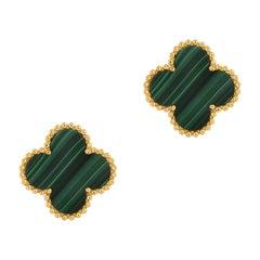 Van Cleef & Arpels Vintage Alhambra 18 Karat Yellow Gold Malachite Earrings