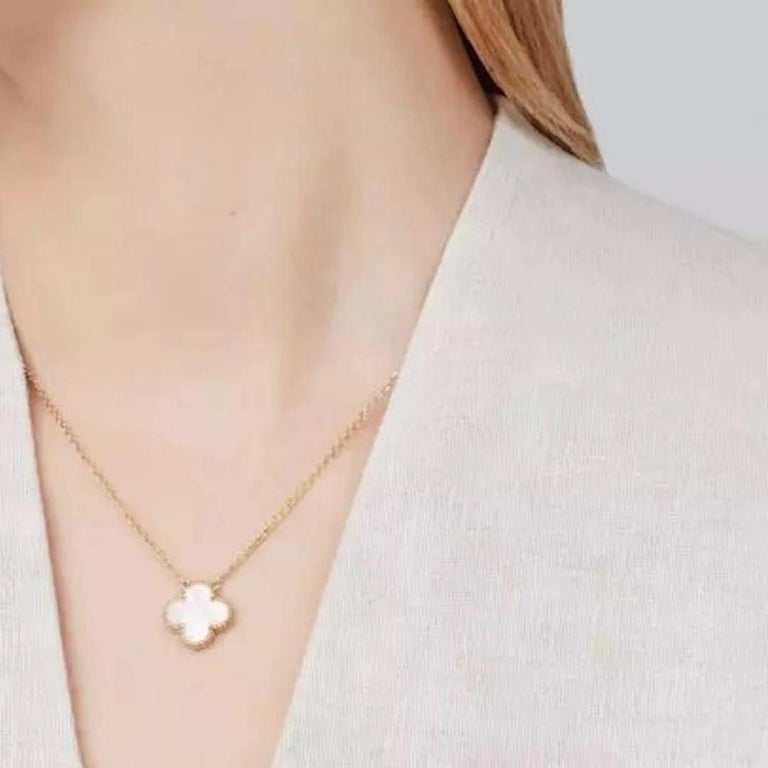 Van Cleef & Arpels Vintage Alhambra 18k Mother of Pearl Pendant Necklace 2