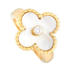 Van Cleef & Arpels Vintage Alhambra 18K Yellow Gold Diamond and Mother of Pearl