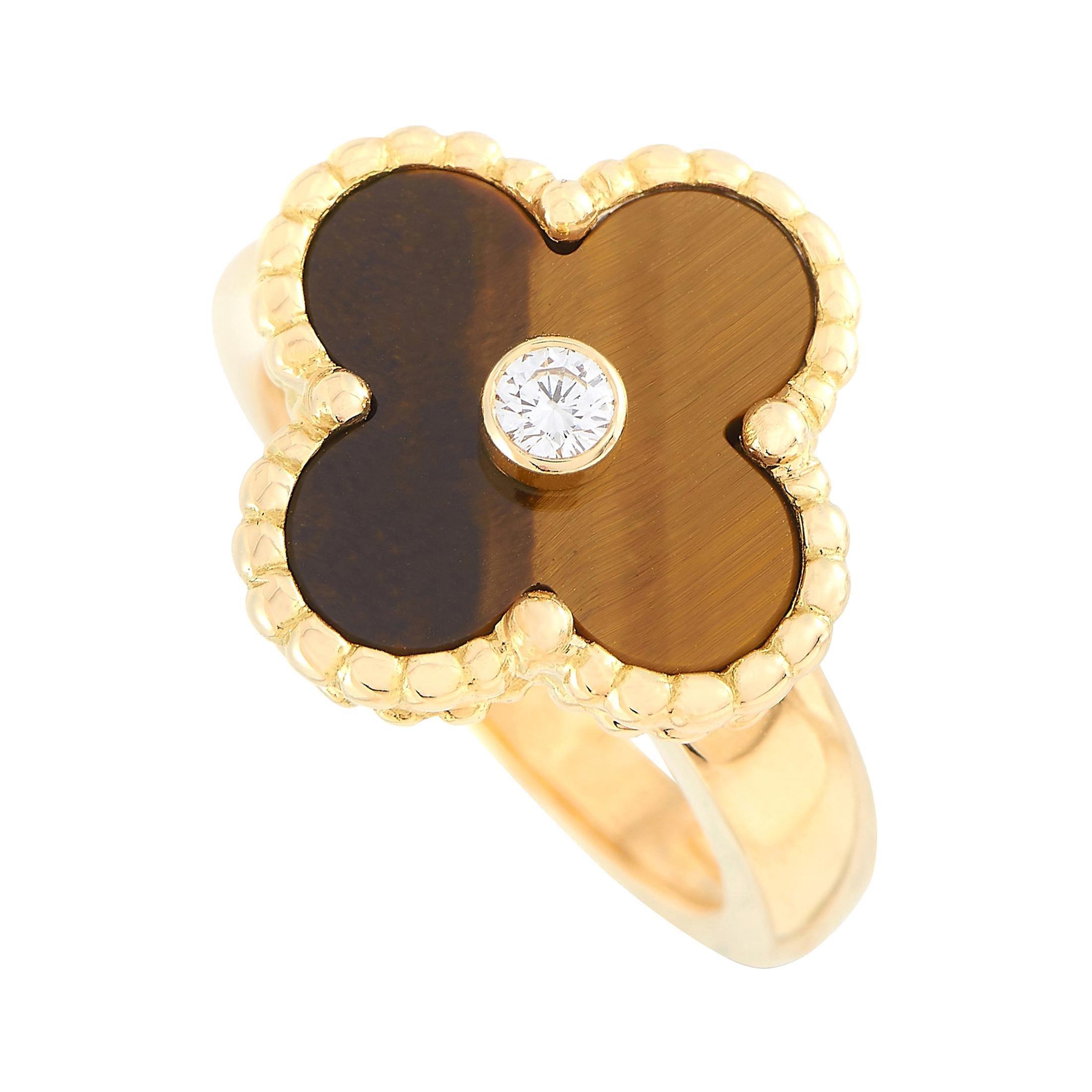 Van Cleef & Arpels Vintage Alhambra 18K Yellow Gold Diamond and Tiger Eye Ring