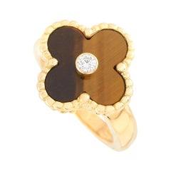 Van Cleef & Arpels Vintage Alhambra 18K Yellow Gold Diamond and Tiger Eye Ring