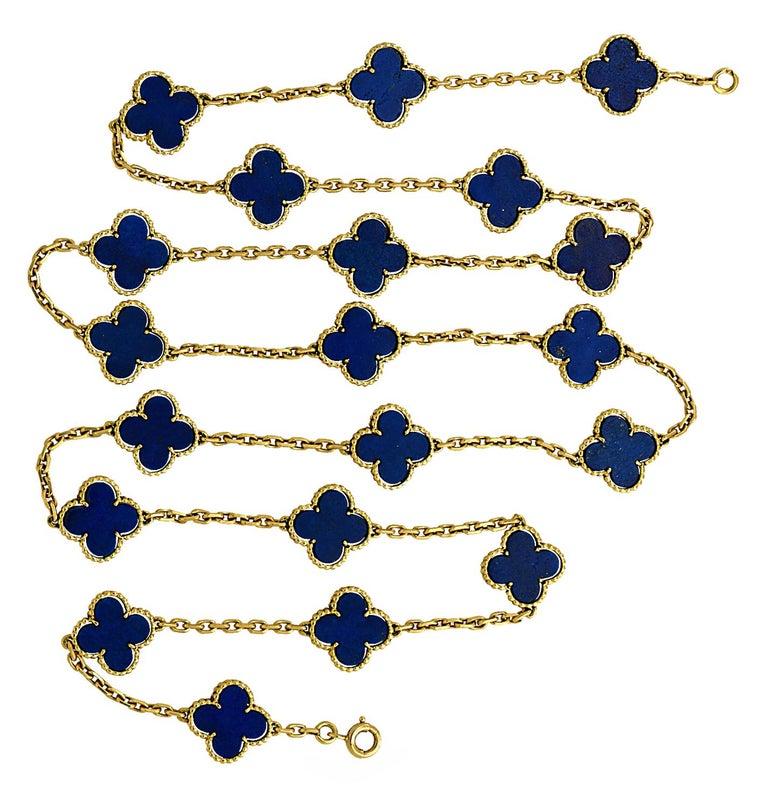 Modern Van Cleef & Arpels Vintage Alhambra 20 Motif Lapis Necklace For Sale