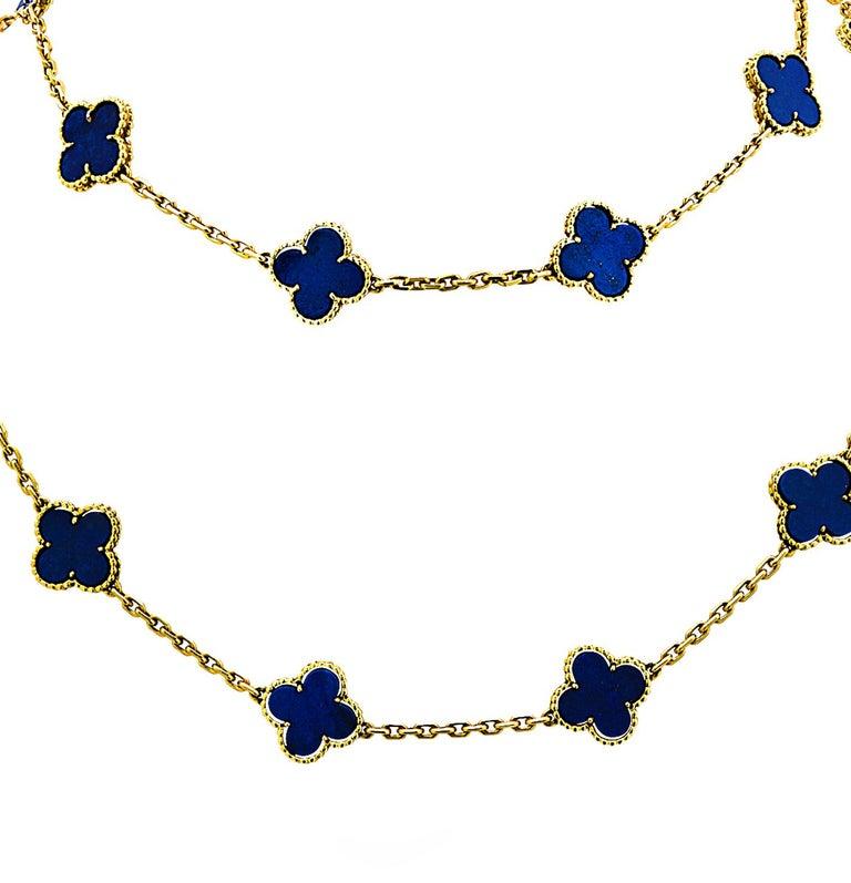 Van Cleef & Arpels Vintage Alhambra 20 Motif Lapis Necklace In Excellent Condition For Sale In Miami, FL