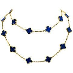 Van Cleef & Arpels Vintage Alhambra 20 Motif Lapis Necklace