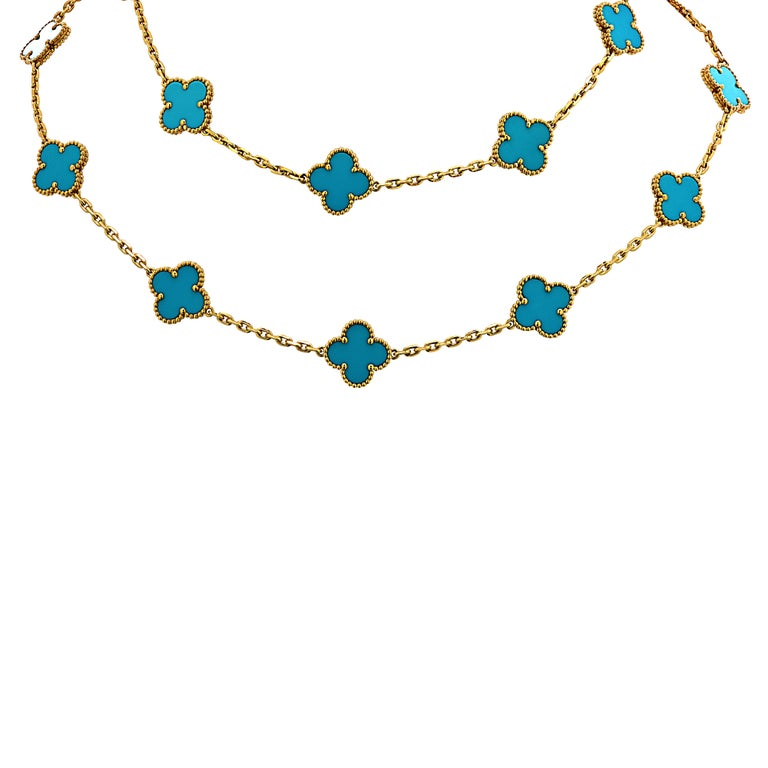 Modern Van Cleef & Arpels Vintage Alhambra 20 Motif Long Turquoise Necklace For Sale
