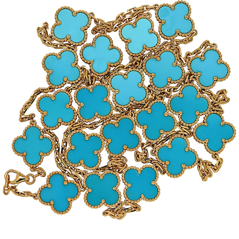 Van Cleef & Arpels Vintage Alhambra 20 Motif Long Turquoise Necklace In Excellent Condition For Sale In Miami, FL