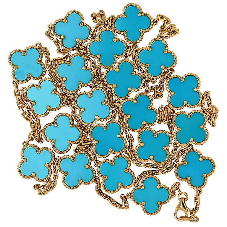 Van Cleef & Arpels Vintage Alhambra 20 Motif Long Turquoise Necklace For Sale