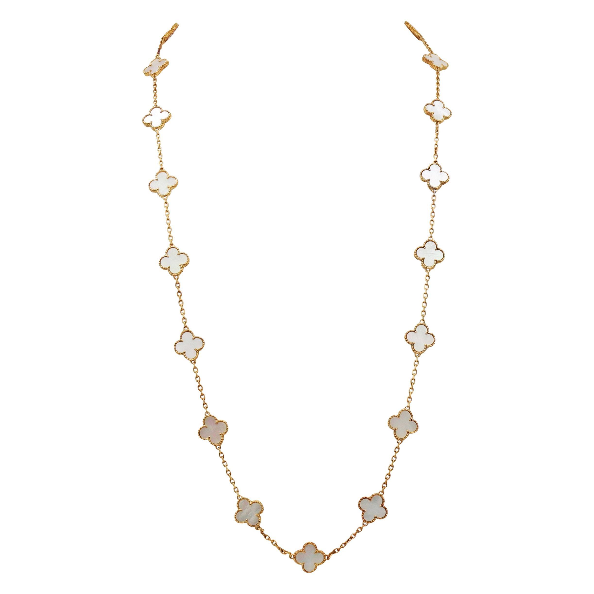 Van Cleef & Arpels Vintage Alhambra 20 Motif Mother of Pearl Necklace