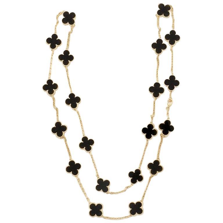 Van Cleef & Arpels Vintage Alhambra 20 Motif Necklace 18 Karat Gold and Onyx