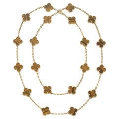 Van Cleef & Arpels Vintage Alhambra 20 Motif Tiger's Eye Necklace in 18K Gold