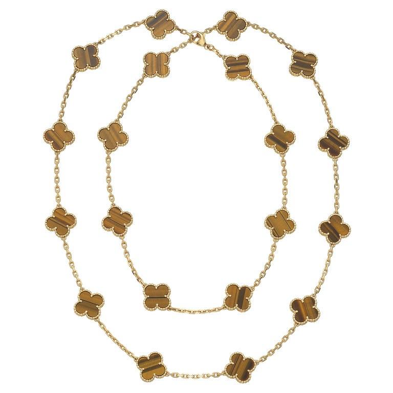 Van Cleef & Arpels Vintage Alhambra 20 Motif Tiger's Eye Necklace in 18K Gold For Sale