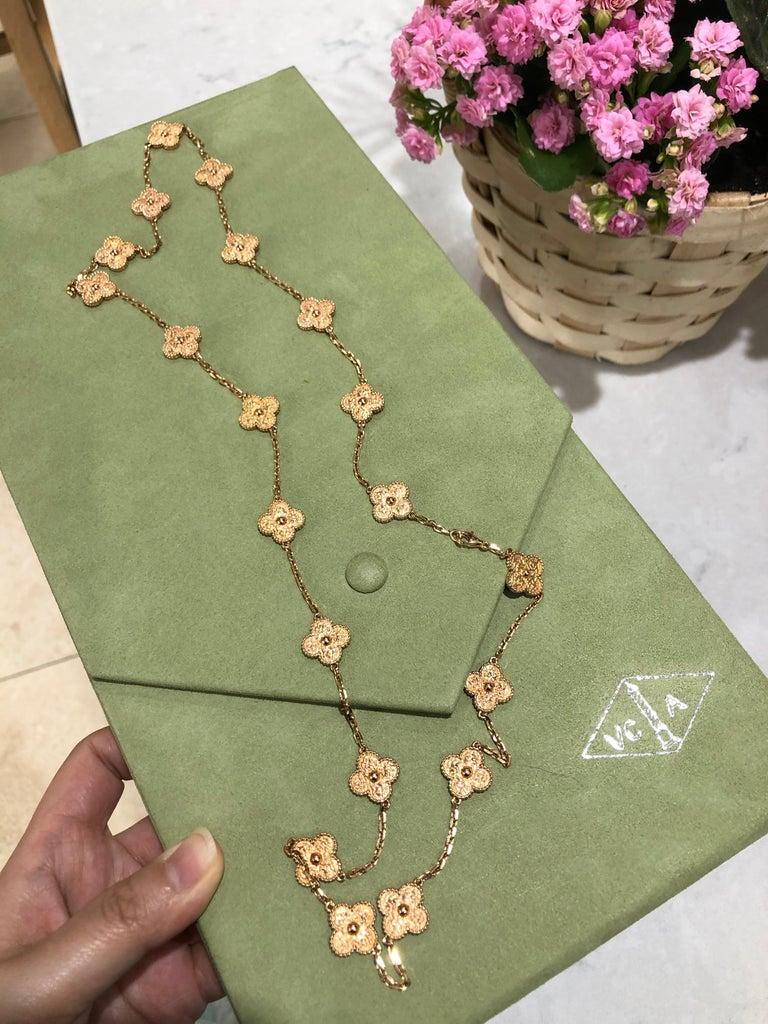 Van Cleef & Arpels Vintage Alhambra 20 Motifs 18K Rose Gold Long Necklace 1