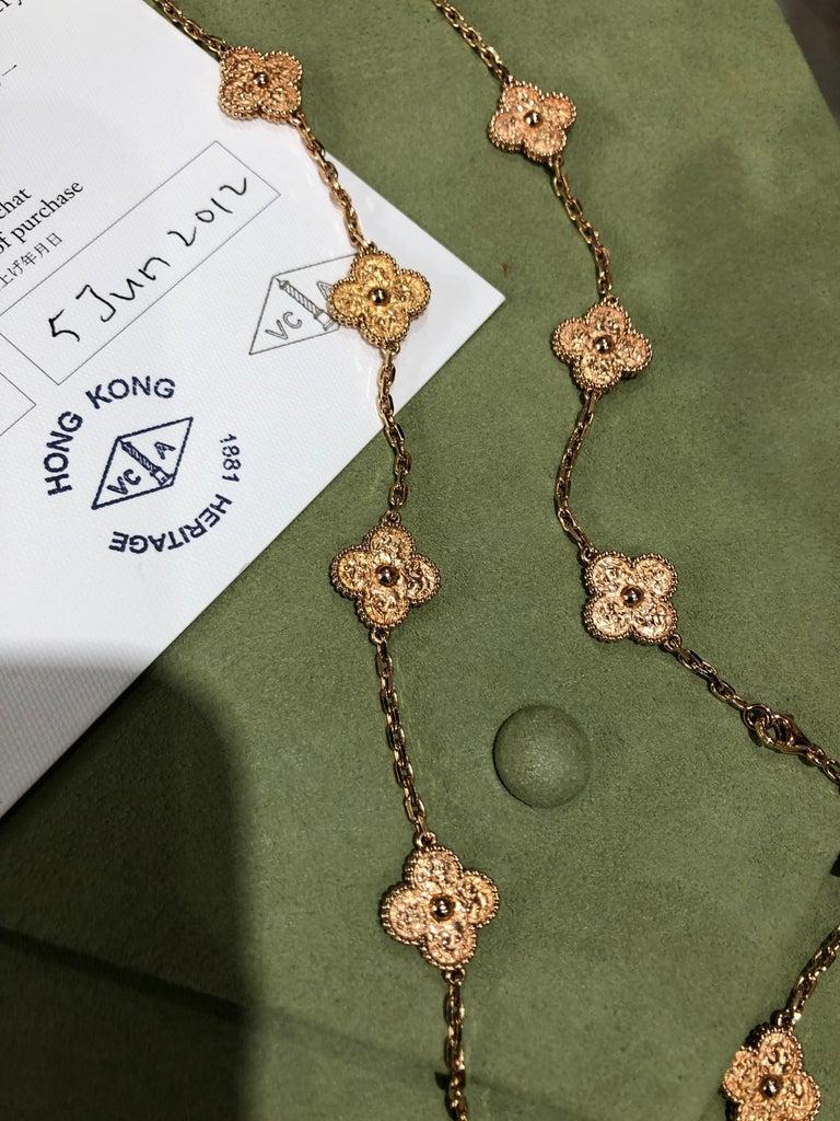 Van Cleef & Arpels Vintage Alhambra 20 Motifs 18K Rose Gold Long Necklace 2