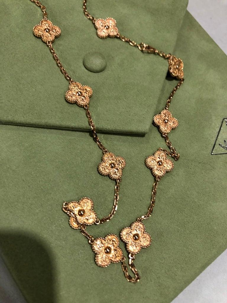 Van Cleef & Arpels Vintage Alhambra 20 Motifs 18K Rose Gold Long Necklace 3