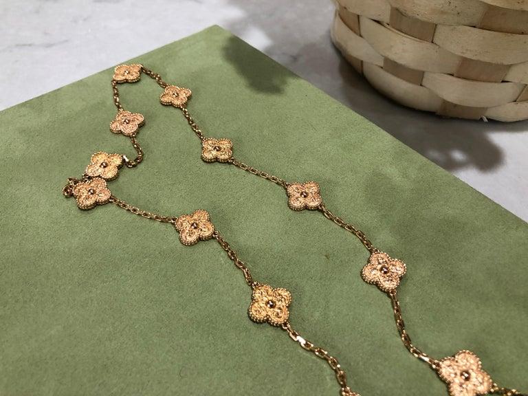 Van Cleef & Arpels Vintage Alhambra 20 Motifs 18K Rose Gold Long Necklace 4