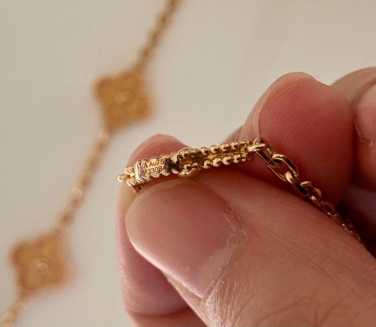 Van Cleef & Arpels Vintage Alhambra 20 Motifs 18K Rose Gold Long Necklace 5