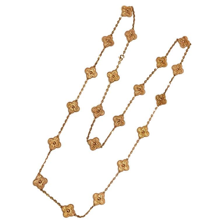 Van Cleef & Arpels Vintage Alhambra 20 Motifs 18K Rose Gold Long Necklace