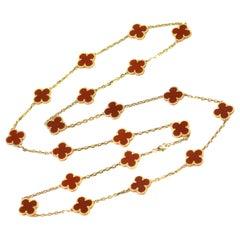 Van Cleef & Arpels Vintage Alhambra 20 Motifs Carnelian Gold Long Necklace