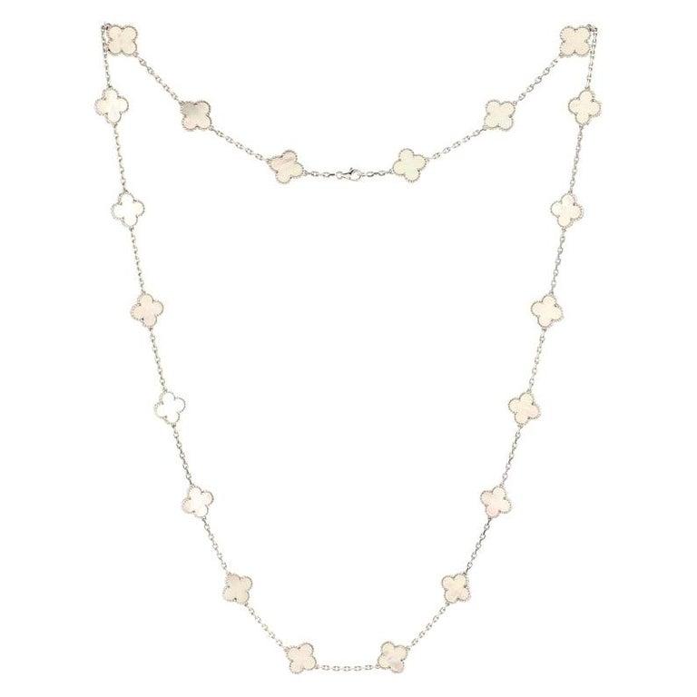 Van Cleef & Arpels Vintage Alhambra 20 Motifs Necklace 18K White Gold