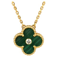 Van Cleef & Arpels Vintage Alhambra 2013 Diamond Malachite Pendant Necklace