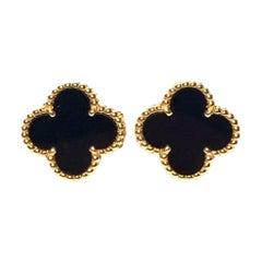 Van Cleef & Arpels Vintage Alhambra Black Onyx Yellow Gold Earrings