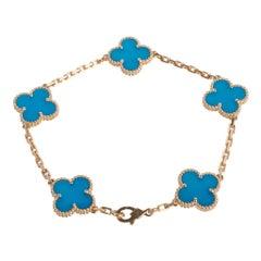 Van Cleef & Arpels Vintage Alhambra Blue Agate Yellow Gold 5 Motif Bracelet Rare