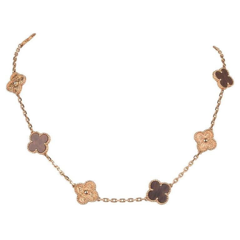 Van Cleef & Arpels Vintage Alhambra Bois D'Amourette Rose Gold Necklace For Sale