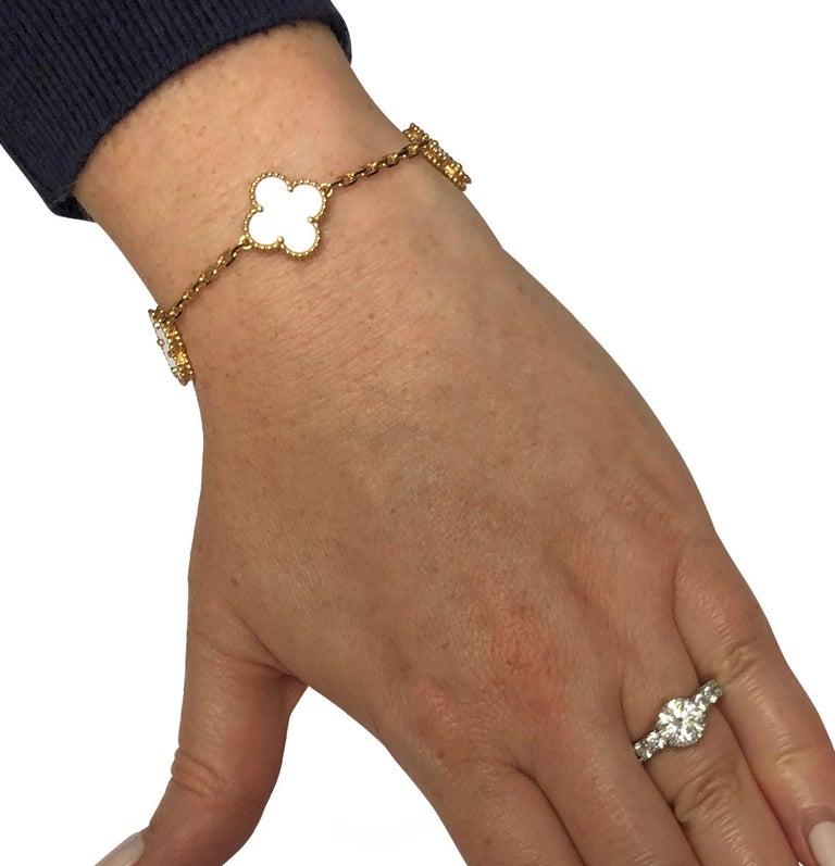 Modern Van Cleef & Arpels Vintage Alhambra Bracelet, 5 Motifs For Sale