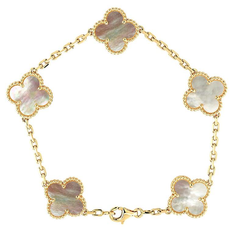 Van Cleef & Arpels Vintage Alhambra Bracelet, 5 Motifs For Sale
