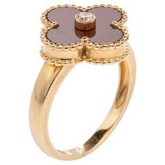 Van Cleef & Arpels Vintage Alhambra Carnelian 18K Diamond Ring Size EU 52