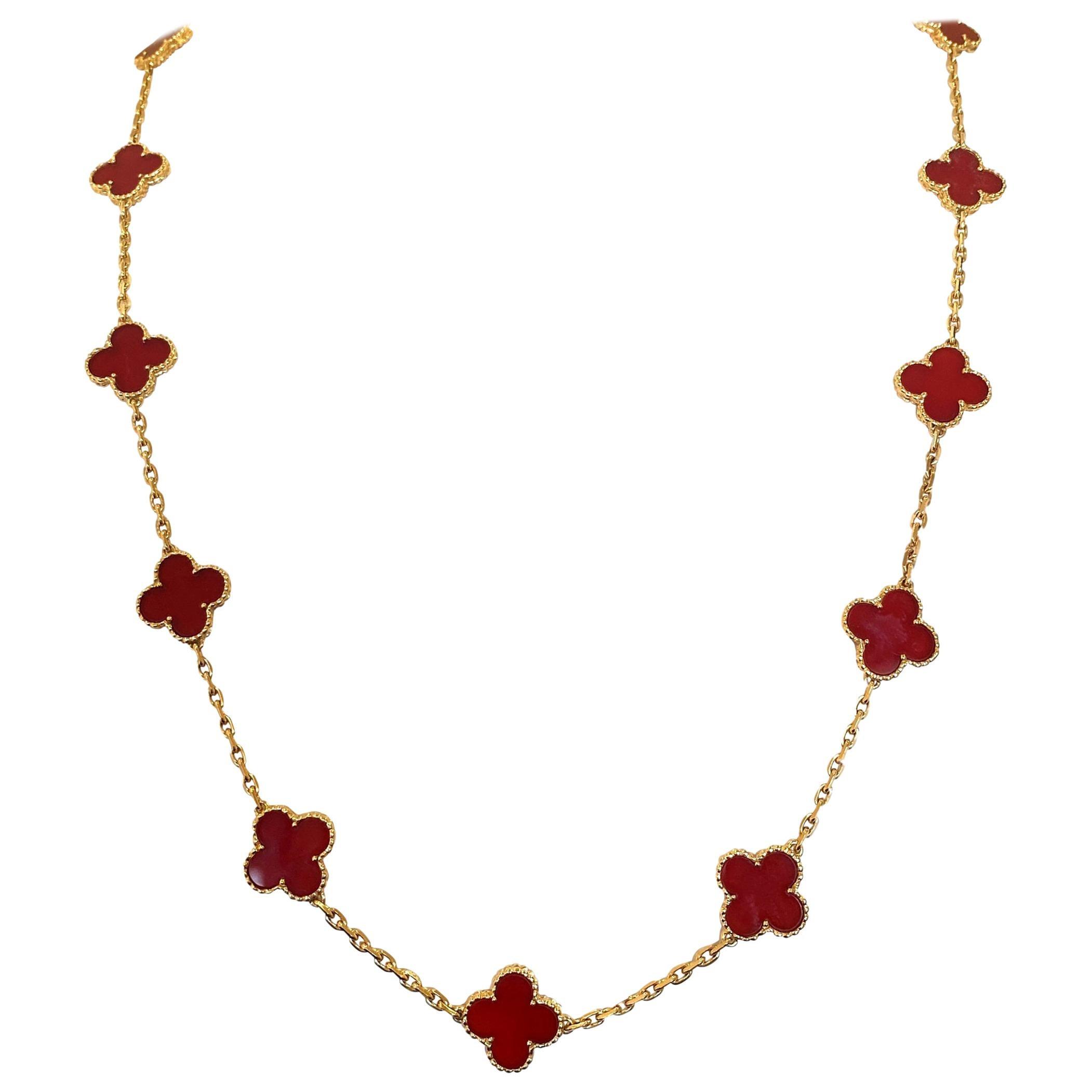 Van Cleef & Arpels Vintage Alhambra Carnelian Necklace 18KY