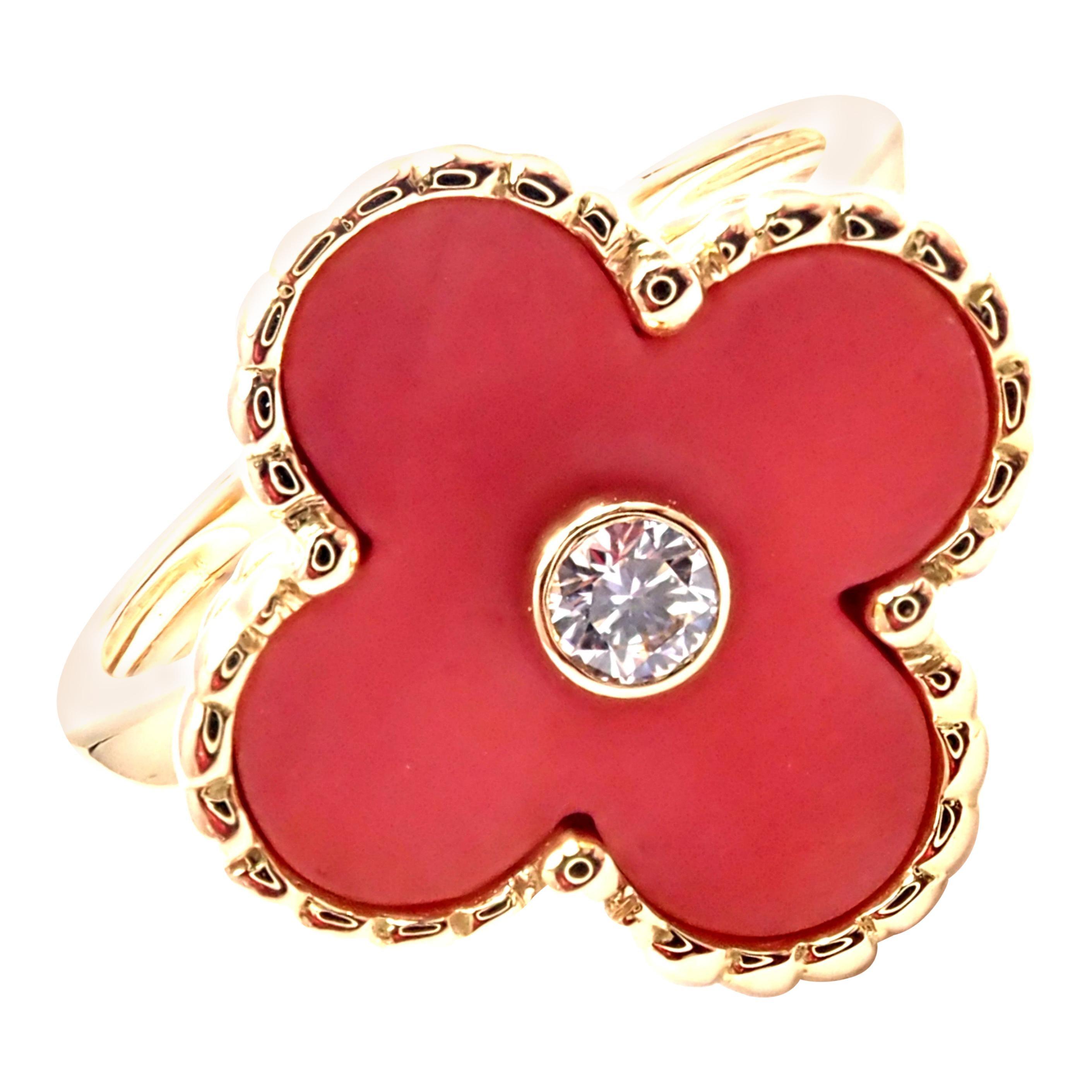 Van Cleef & Arpels Vintage Alhambra Coral Diamond Gold Ring