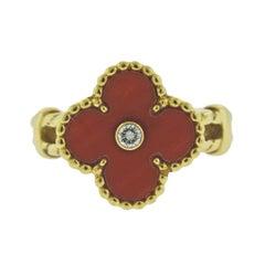 Van Cleef & Arpels Vintage Alhambra Coral Diamond Ring