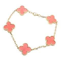 Van Cleef & Arpels Vintage Alhambra Coral Yellow Gold Bracelet