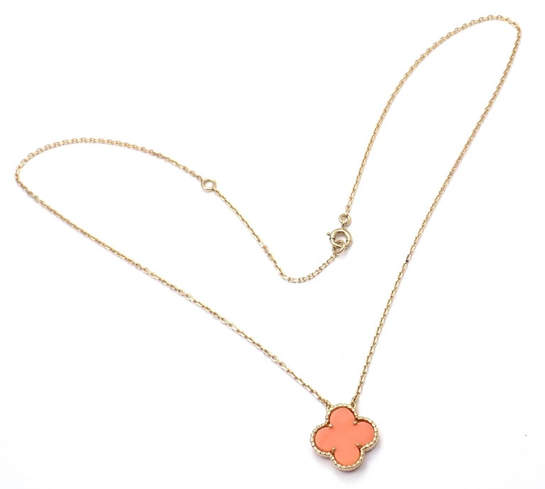 Van Cleef & Arpels Vintage Alhambra Coral Yellow Gold Pendant Necklace For Sale 5