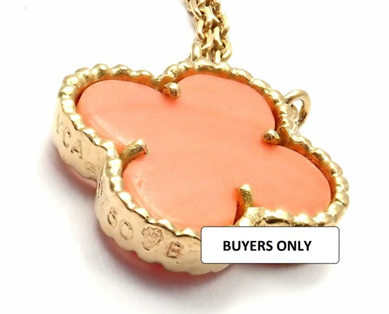 Van Cleef & Arpels Vintage Alhambra Coral Yellow Gold Pendant Necklace For Sale 5