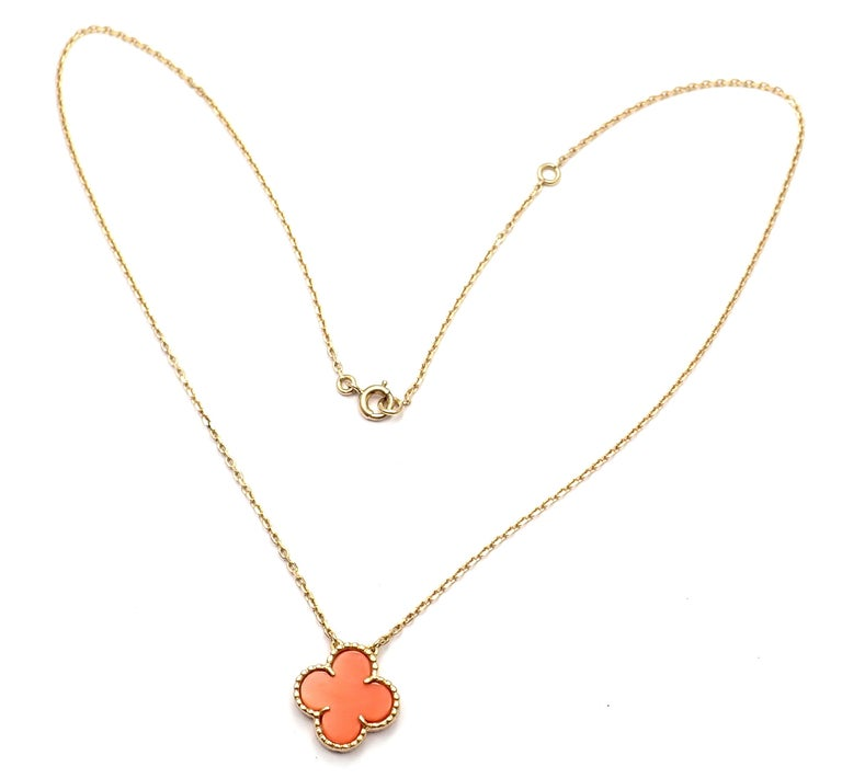 18k Yellow Gold Vintage Coral Alhambra Pendant Necklace by Van Cleef & Arpels. With Alhambra cut coral stone. Details:  Measurements: Length: 16.5