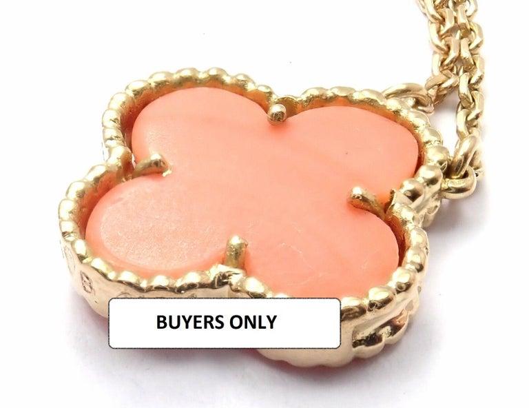Van Cleef & Arpels Vintage Alhambra Coral Yellow Gold Pendant Necklace For Sale 4