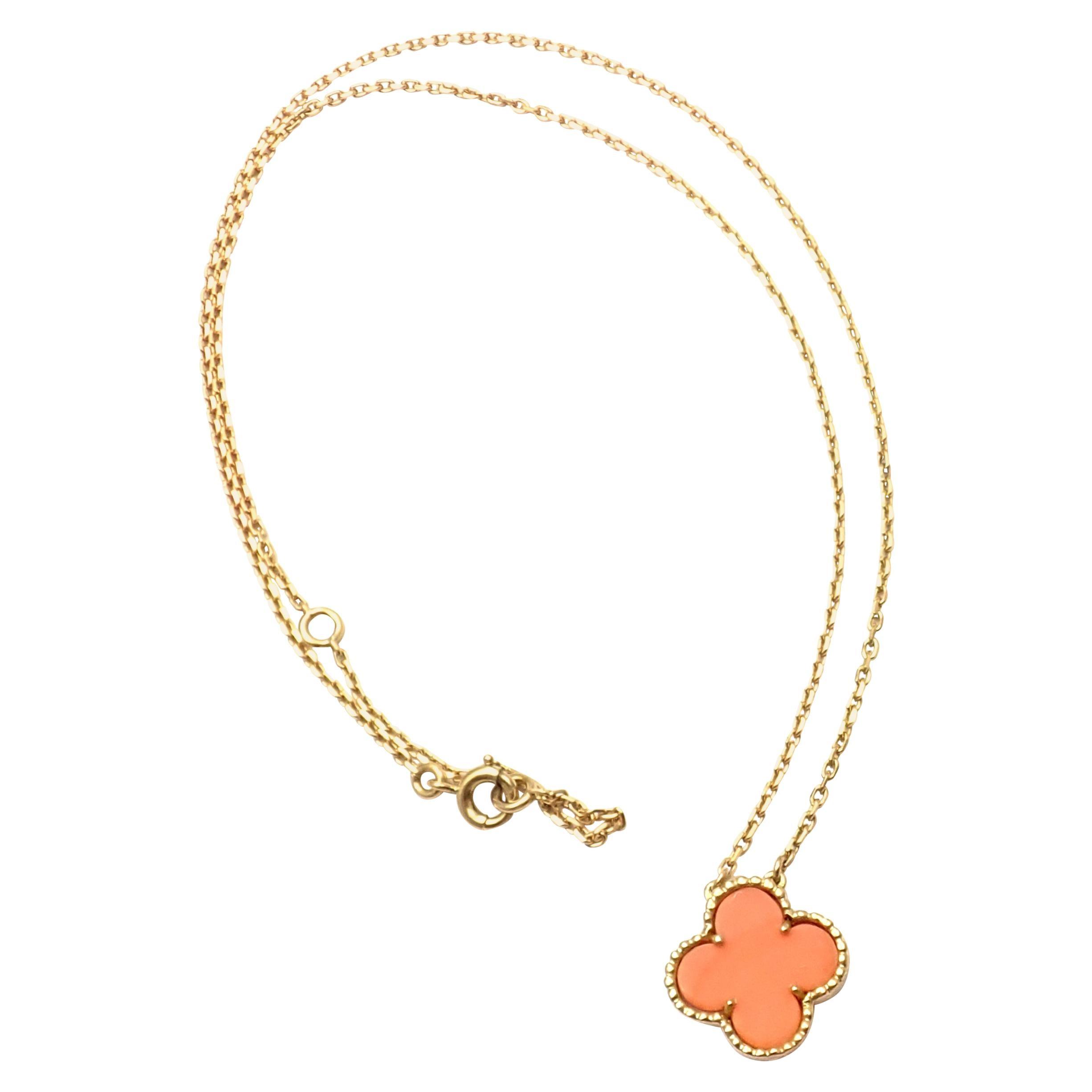 Van Cleef & Arpels Vintage Alhambra Coral Yellow Gold Pendant Necklace
