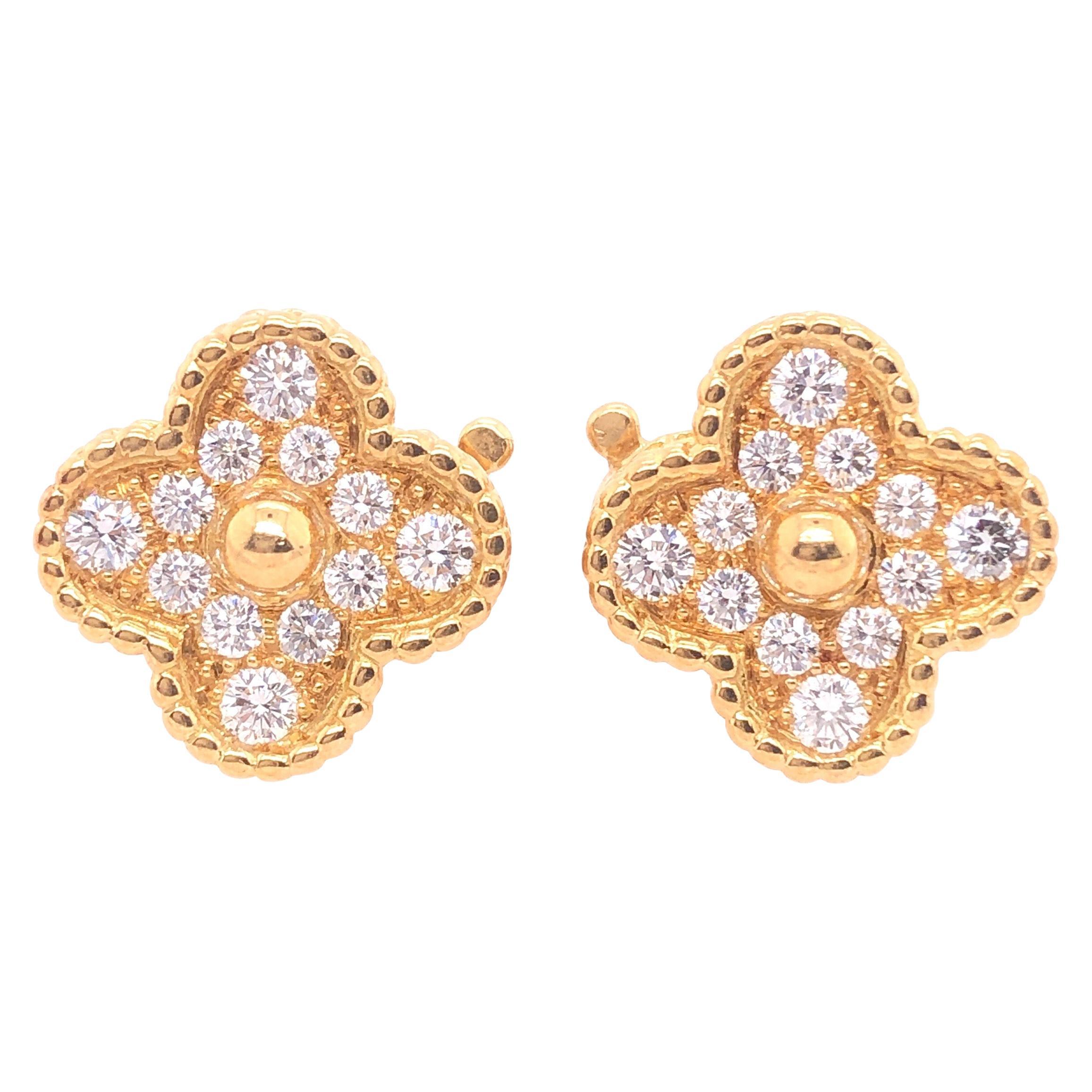 Van Cleef & Arpels Vintage Alhambra Diamond Earrings Yellow Gold 24 Stones .98Ct