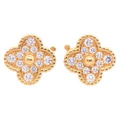 Van Cleef & Arpels Vintage Alhambra Diamond Earrings Yellow Gold 24 Stones .98Ct