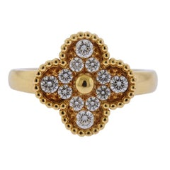 Van Cleef & Arpels Vintage Alhambra Diamond Gold Ring