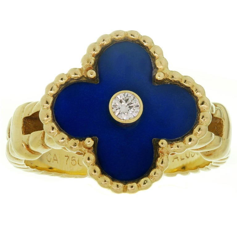 Brilliant Cut Van Cleef & Arpels Vintage Alhambra Diamond Lapis Lazuli Yellow Gold Ring For Sale