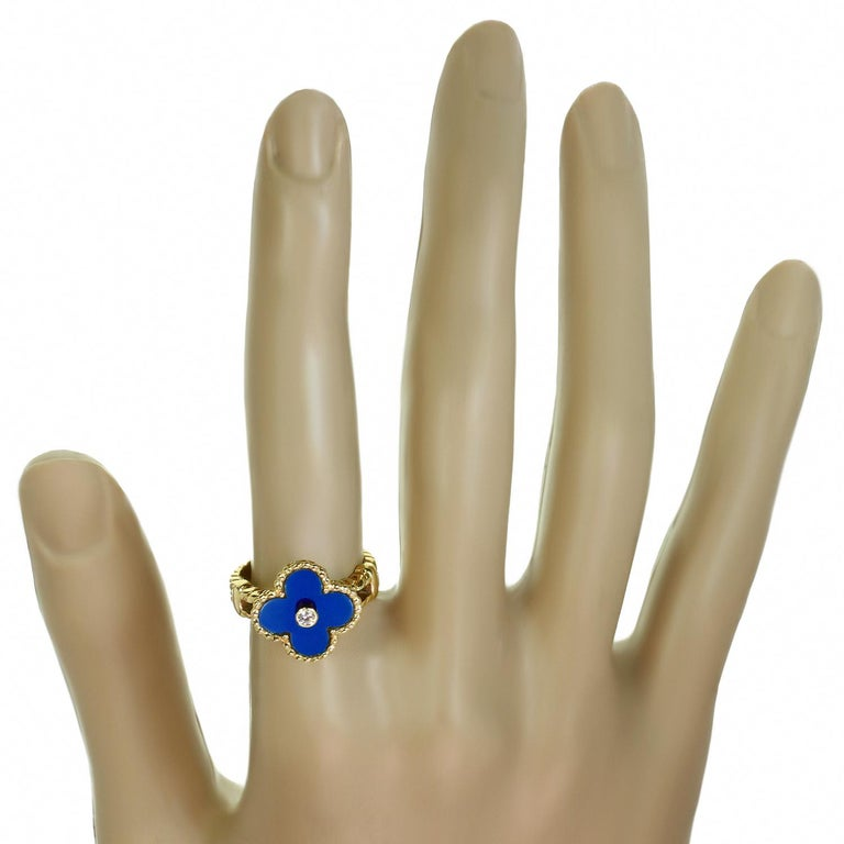 Van Cleef & Arpels Vintage Alhambra Diamond Lapis Lazuli Yellow Gold Ring In Excellent Condition For Sale In New York, NY