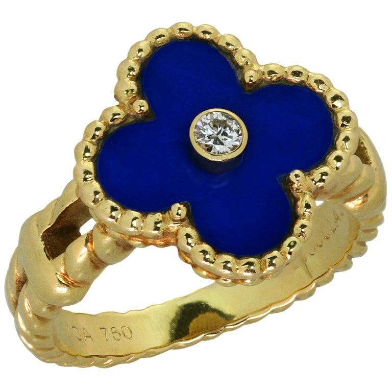 Van Cleef & Arpels Vintage Alhambra Diamond Lapis Lazuli Yellow Gold Ring For Sale