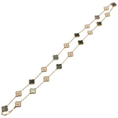 "Van Cleef & Arpels ""Vintage Alhambra"" Diamond & Mother of Pearl Necklace"