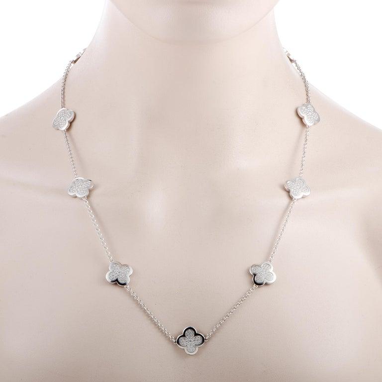 Round Cut Van Cleef & Arpels Vintage Alhambra Diamond Pavé 14 Motif White Gold Necklace For Sale